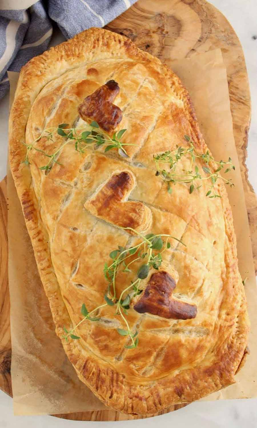 Overhead view of a fully cooked mushroom wellington.