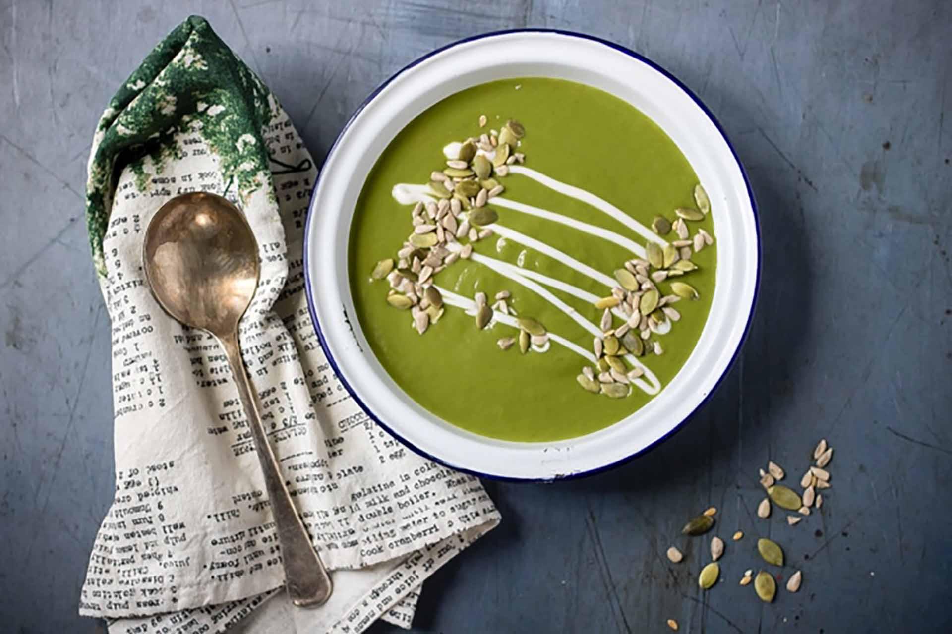 A bowl of kale soup