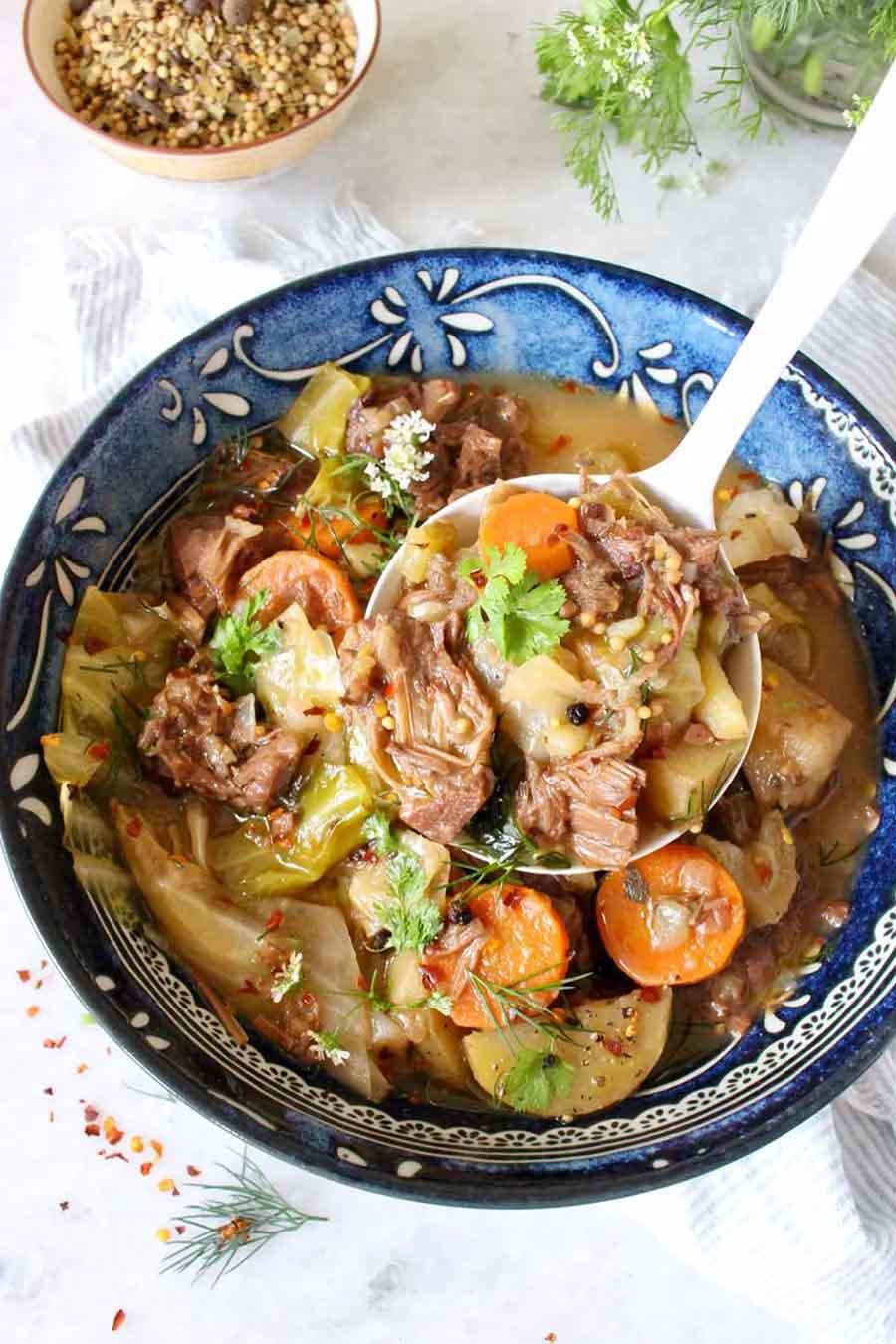 Bowl of vegan corned jackfruit and cabbage