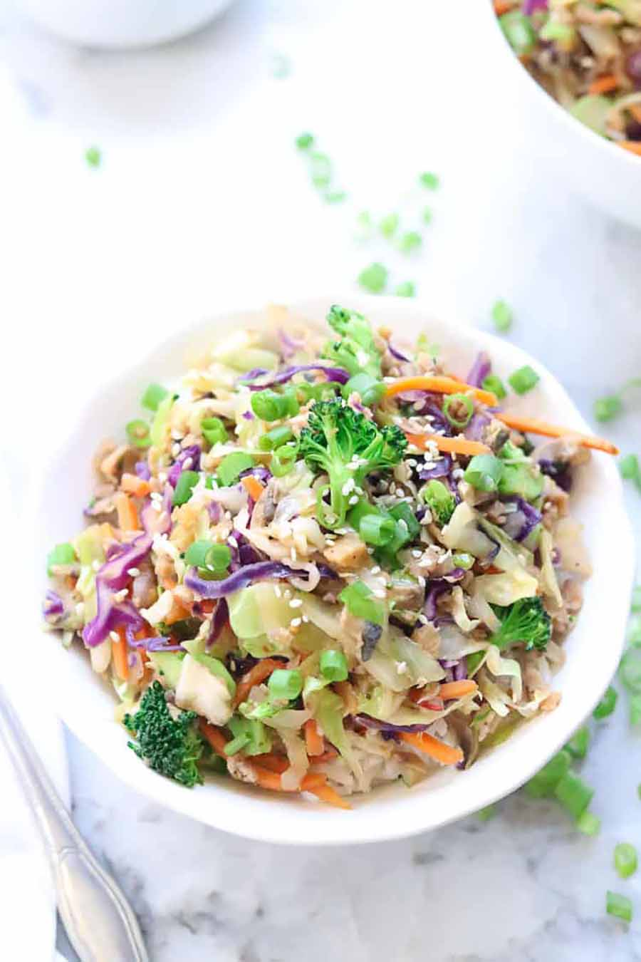 Vegan egg roll in a bowl sitting on a table