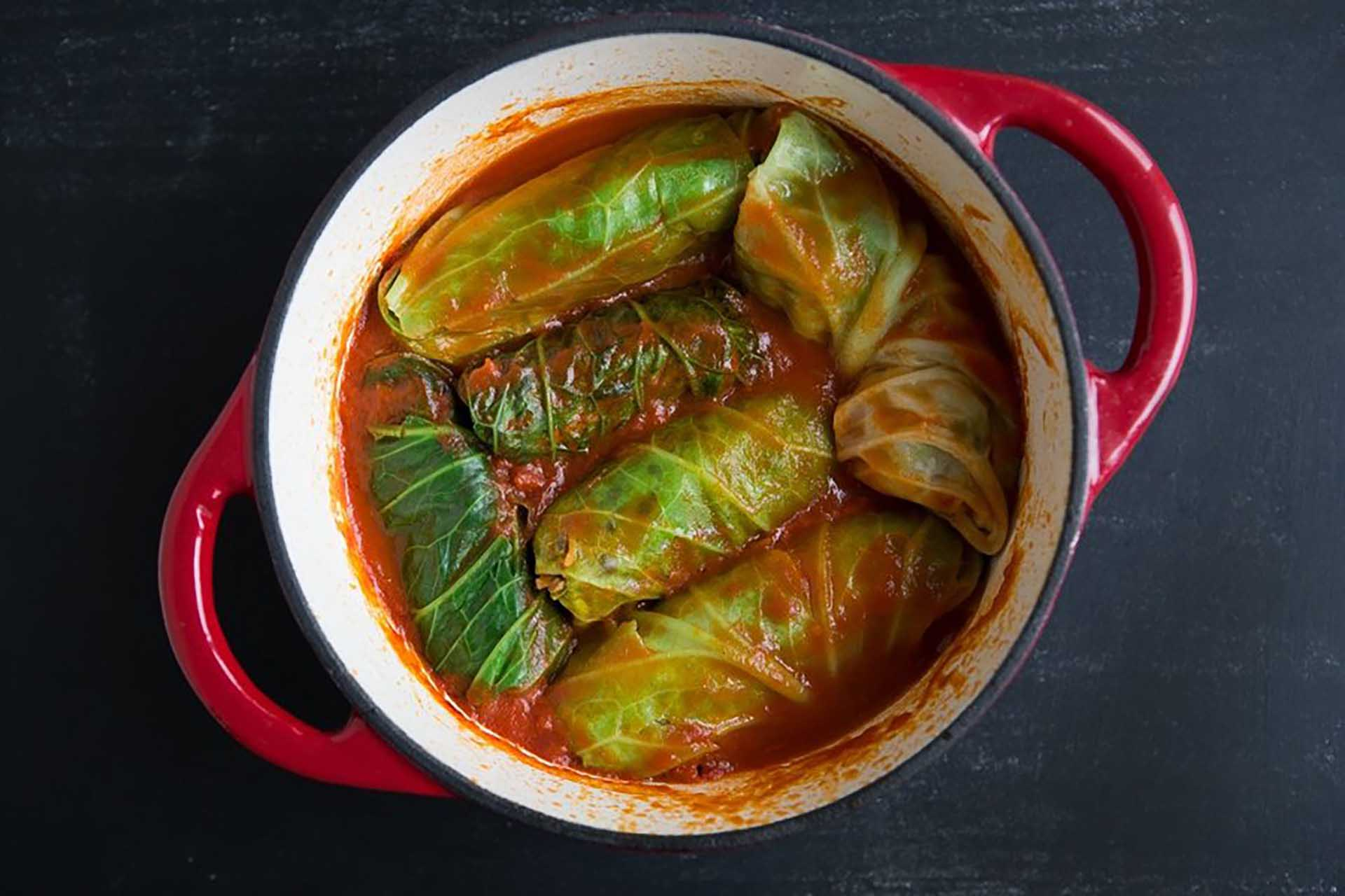 A pot of stuffed cabbage leaves