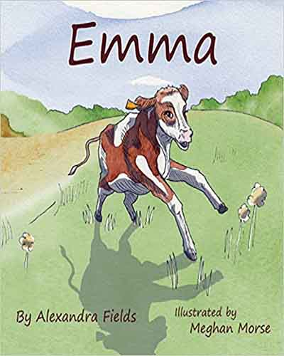 Cover for the book, Emma featuring a colorful picture of a cartoon calf romping through the green hills