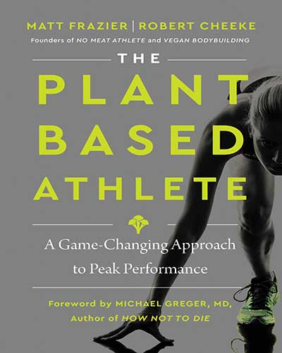 Cover for the book, The Plant-Based Athlete, grey with bright yellow lettering