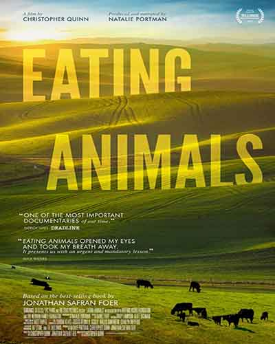 Cover for the film, Eating Animals, featuring a picture of green hills and a blue sky.