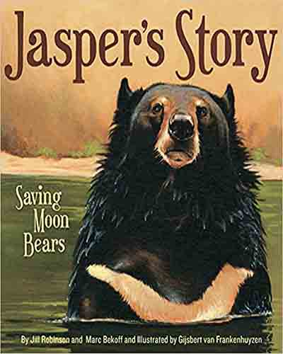 Cover for the book, Jasper's Story: Saving Moon Bears featuring an illustration of a moon bear in a field.