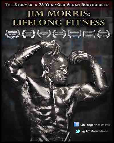 Cover for the film, Jim Morris: Lifelong Fitness featuring a muscular man on a black background