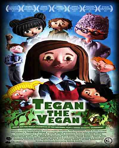 Cover for the film, Tegan the Vegan featuring a bunch of claymation characters